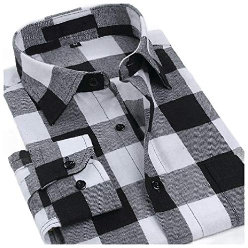 VITryst Men's Washed Long Sleeve Brushed Flannel Shirts AS8 XL - Woven Long Sleeve Button
