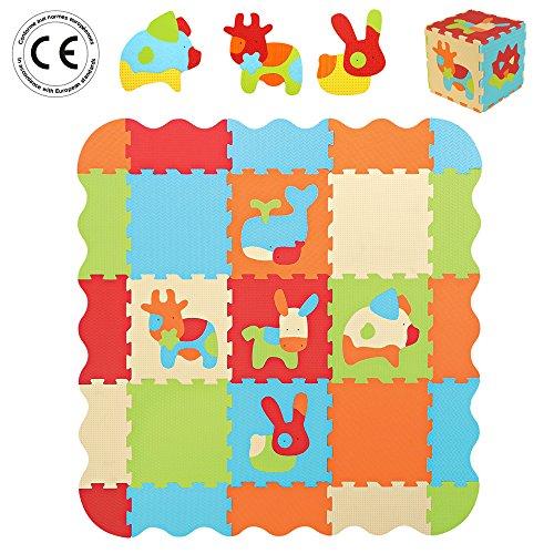 LUDI – Tapis de sol épais pour l'éveil de bébé – 10006 - puzzle géant aux motifs Animaux – dès 10 mois – lot de 9 dalles en mousse multicolores et 44 éléments amovibles pour un tapis de jeu ou parc.