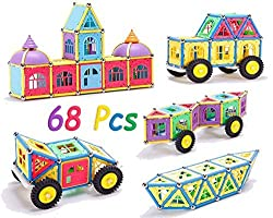 Magnetic Educational Toy, Sticks and Construction Building Blocks and Tiles,68 Pcs, for Kids Boys and girls, By 4Es Toys