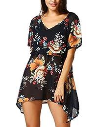 Camiseta Irregular con Estampado De Floral Casuales Mujer LHWY, Camiseta Tallas Grandes Blusa De De
