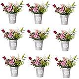 Ensemble de 9 pots de fleurs en Zinc avec imprimé blanc, décoration vintage rétro (diamètre 13.5cm*H15cm)