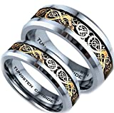 BestToHave His and Hers 8MM/6MM Tungsten Carbide Celtic Dragon Inlay Wedding Engagement Ring Set (Available Sizes H - Z+4) EMAIL US with Your Sizes
