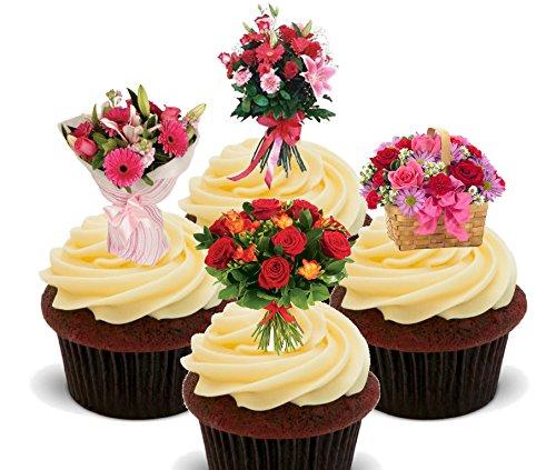 Blumen–Schöne Blumensträuße–Essbare Kuchen Dekorationen–Stand-Up Wafer Cupcake Topper, 24er-Pack (Waffel Cup Maker)