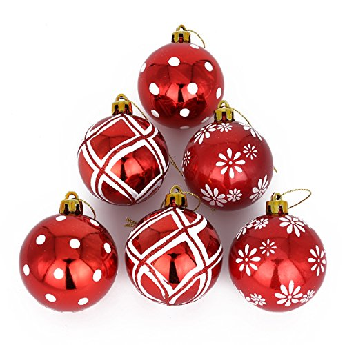COOLWEST 6-teilige Weihnachtskugel-Set Weihnachtskugeln Christbaumkugeln Weihnachtsbaumschmuck Baumkugeln (Rot)