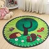 Jixing Kinder Cartoon Rutschfeste Matten Spieldecke Krabbeln Matten Runde Teppich für Kinder, Waldhörnchen, Plüsch Stoffe