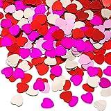 Pangda 4 Ounce Cuore Coriandoli Rosso Rosa Argento Rose Rosa Tavolo Confetti di Lamina Metallica Cuore per San Valentino Festa Decor Favore, 4 Colori