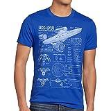 style3 NCC-1701 Blaupause T-Shirt Herren christopher pike trek trekkie star, Größe:XL;Farbe:Blau