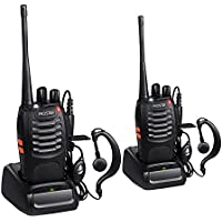 Walkie Talkies Two Way Radio 16 Channels with Voice Prompt Rechargeable Walky Talky UHF 400-470MHz CTCSS DCS Handheld Transceiver USB Charger with Original Earpieces (2 PCS)