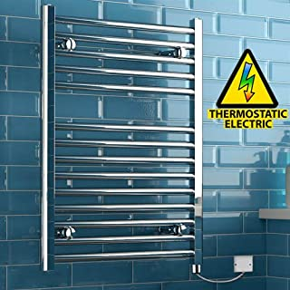 iBathUK 800 x 600 Thermostatic Electric Heated Towel Rail Bathroom Radiator - All Sizes