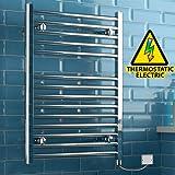 iBathUK 800 x 600 Thermostatic Electric Heated Towel Rail Bathroom Radiator - All Sizes