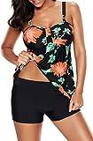Socluer Femme Tankini Vintage 2 Pièces Beachwear Push-up Bikini Sets Imprimé Grande Taille Jupette Maillot avec Shorty(2XL(FR 40/42),Rouge)