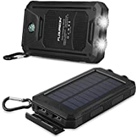 FLOUREON 10,000mAh Solar Charger Power Bank Portable Phone Solar Charger Dual LED Flashlight External Battery Charger with 2-USB Output for Smart Phone Tablet and More