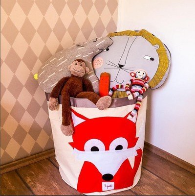 Treasure de House Storage Baskets for Kids Toys - Lined Fabric Baskets for storing Toys - Red Owl Design On Fabric - Large Storage Basket for Kids Toys - suitable for a Nursery, or Any Room in the House