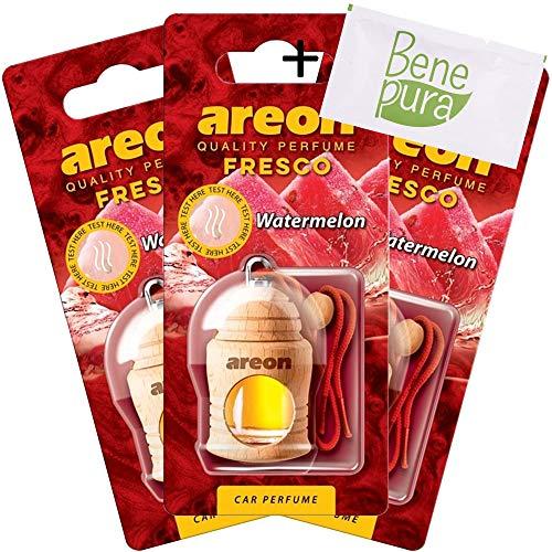 AREON Auto Lufterfrischer Parfüm Fresko 4 ml - Wassermelone-Duft - Hängende Flasche Diffusor mit Echtholzdeckel, langlebig, Set von 3 -