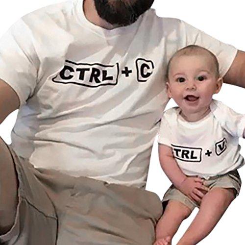 UCKDE Daddy und Sohn Bluse Herren Tank Top Herren T-Shirt Matching Outfits Father Son Baby Outfit Freizeithemd Sportshirts Familien Kleidung Babykleidung Crop Tops (18M, Kind) (Vater Mutter Sohn Matching)