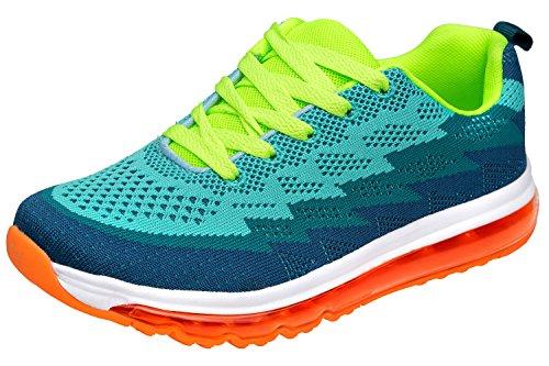 Gibra Men Sneaker Scarpe Sportive, Art. 9037, Molto Leggero E Confortevole, Verde / Arancio Neon, Taglia 41-46 Verde / Arancione Neon