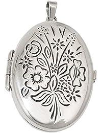locket, diseño floral, plata 925
