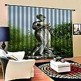 LYOUNG YANGG Küchengardinen, 3D-Frau Statue Digitaldruck Vorhang, Polyester Upgrade Schalldichte Fenster Gardinen, Schlafzimmer, Küche (2 X W90 X L90)
