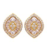 Yazilind Gold Plated Cubic Zirconia With Oval Bold Pear-Shaped Stud Bridal Earrings For Women