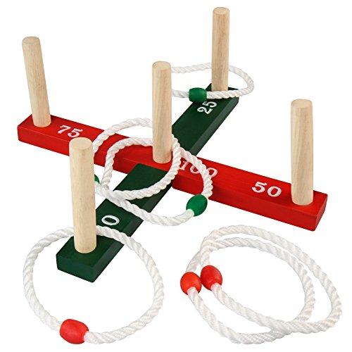 Ringwurfspiel Outdoor   mit 6 Wurfringen, 36x36x14,7cm, Tannenholz   Spiele für Draußen, Ring für Kinder, Werfen den Ring, Wurfspiel