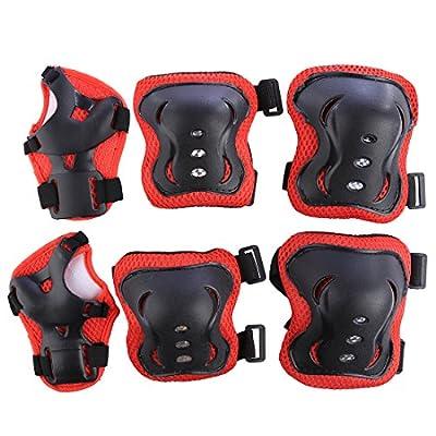GODNECE Kinder Schutzausrüstung Set 7 Stücke Schutzset Kinder mit Helm Knieschoner Handgelenkschutz Ellenbogenschoner