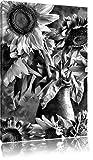 Monocrome, tournesols dans un vase, Format: 120x80 sur toile, XXL énormes photos complètement encadrée avec civière, imprimé Art mural avec cadre moins cher que la peinture ou la peinture à l'huile, pas poster ou une affiche