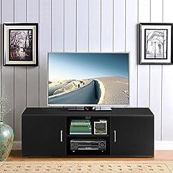 LANGRIA Mueble Bajo de Televisión con 2 Puertas 2 Estantes Inferiores y Agujero Pasacables Mesa Soporte Moderno de Salón Comedor Habitación (120 x 40 x 40 cm, Negro)