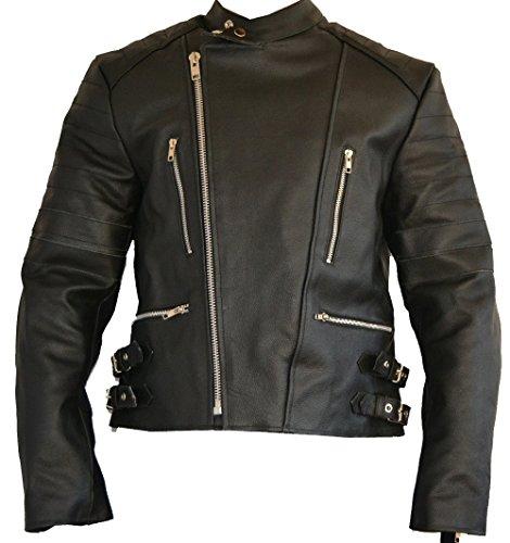 SGI-BIKE Old School Lederjacke, Motorradjacke Bikerjacke Leder Jacke 5X Protektoren (M, Schwarz-Schwarz)