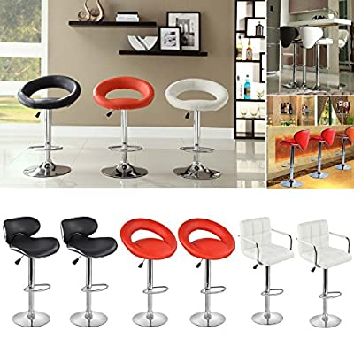 Popamazing Set of 2 Faux Leather Kitchen Breakfast Bar Stool Barstools Pu Swivel Stools