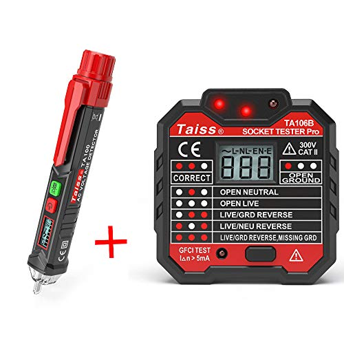 Twiedc Twidec/Voltage Tester Pen Non-Contact with LED Flashlight + GFCI Outlet Tester Power Socket Automatic Electric Circuit Polarity Voltage Detector Wall Plug Breaker Finder TA100+TA106B Voltage Detector Circuit