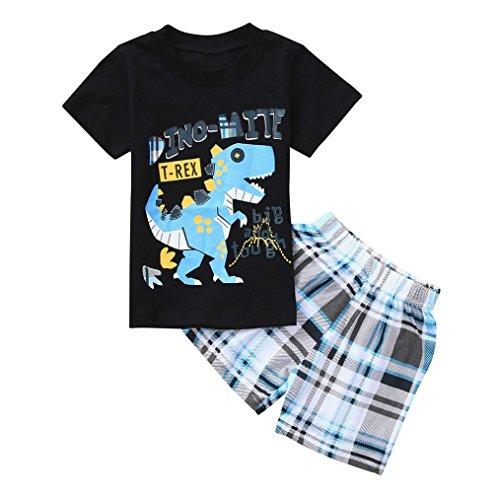 Conjuntos Bebe Niño Verano, Zolimx Reborn Bebes Recien Nacidos Dinosaurios de Dibujos Animados Camisetas Rayas + Pantalones Cortos Ropa Conjuntos (Negro, 18 Meses)