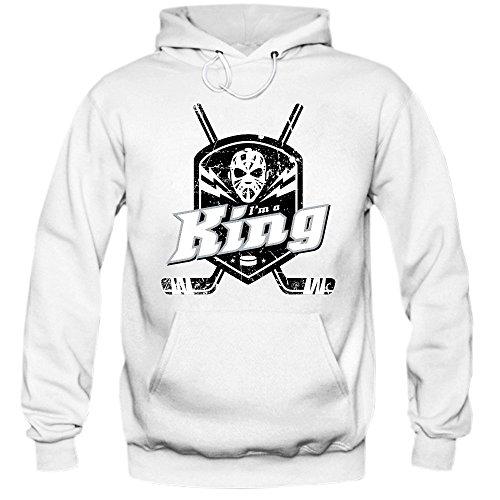 I'm a King #1 Hoodie |Eishockey | Play Offs | USA | Kapuzenpullover, Farbe:Weiß (White F421);Größe:XXL -