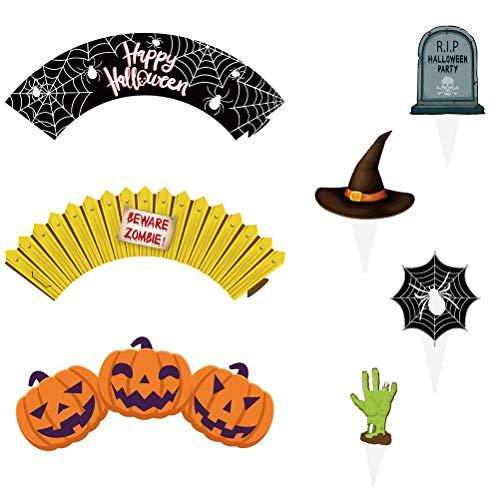 UPKOCH 24 Halloween-Kuchendekorationen für Halloween, Cupcake-Wrapper, Partyzubehör (12 Wrapper + 12 Topper)