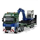 FEI Juguetes para Bebés Alloy Carrier Model 1:50 Flatbed Trailer With Excavator Transporter Semirremolque Tractor Temprano Educación