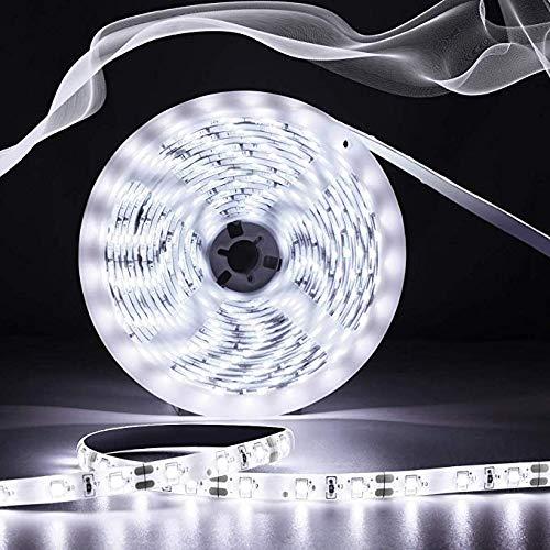 AMBOTHER LED Strip 5m LED Streifen Lichtleisten Lichtband 300 LED 2835 SMD Strip Kit Lichterkette Innenbeleuchtung für Deko Party Küche Wasserdicht 12V 6000K Kaltweiß