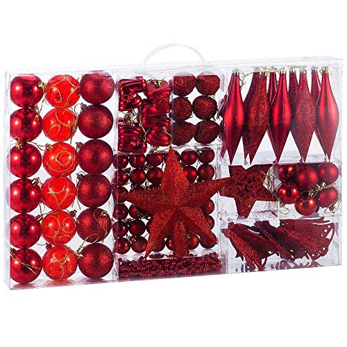 BAKAJI Addobbi per Albero di Natale 102 Pezzi Confezione Palline Calze Stelle Pigne Decorazioni Natalizie (Rosso)