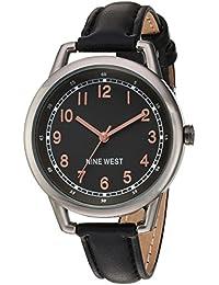 Nine West reloj de mujer de cuarzo con Negro esfera analógica pantalla y correa de poliuretano color negro NW/1699gnbk
