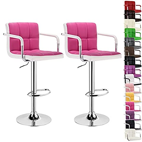 WOLTU BH16pkw-2 bar stool with armrest, 2pcs set, stepless height adjustment, chromed steel, anti-slip rubber, care-resistant synthetic leather, 2-color well-padded seat (Pink and White)