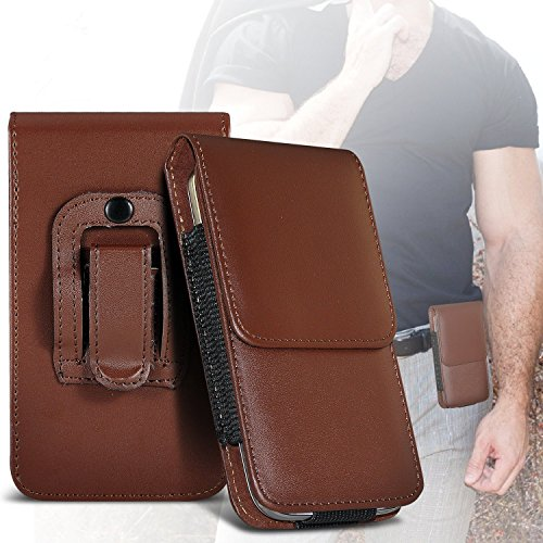 I-Sonite (Brown) Premium Vertical Kunstleder Gürtel Holster-Beutel-Abdeckung Fall mit magnetischem Schliessen für Bush Spira B5 Power (Samsung Tablet Power Plug)