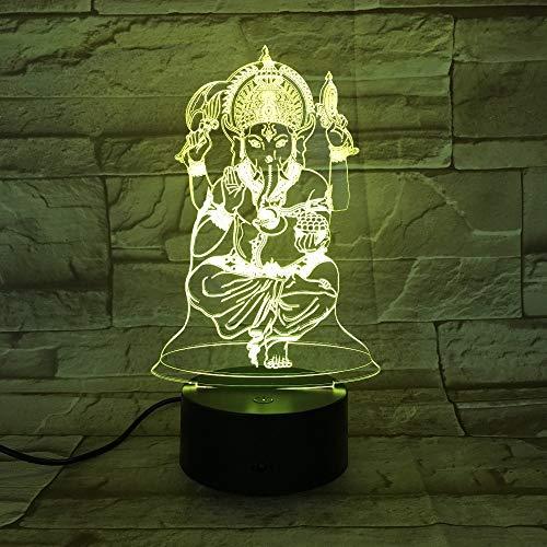 Estatua de Buda 3D luz de Noche USB luz de sueño 3AA...