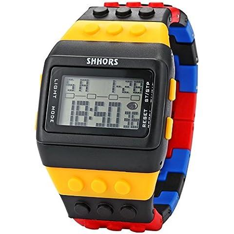 reloj ladrillos bloques deportes estilo lcd de los hombres de banda de plástico de colores