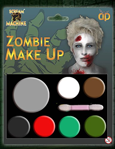 KE-UP GESICHTSFARBE ZOMBIE VAMPIR HEXE CLOWN DEVIL FAMILIEN SET ROT WEIß SCHWARZ - Zombie Make-up, One size ()