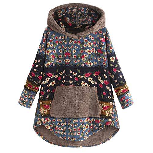 Oksea Damen Vintage Baumwolle gedruckt Plüsch Pullover Top Frauen Fleece Patchwork Blumendruck Langarm Taschen Plus Size Hoodie Top