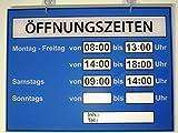 Öffnungszeiten Schild (Geschäftszeiten) Plexiglas XT Farbe Blau -Weltneuheit -