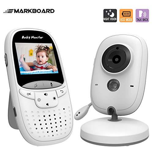 MARKBOARD Babyphone mit Kamera, Wireless Baby Monitor, Video Babyphone, mit Gegensprechfunktion Digital mit Temperatursensor Schlaflieder Nachtsicht