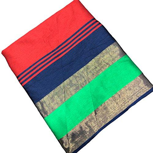 Active Women's Cotton Silk Jacquard Saree Red Color