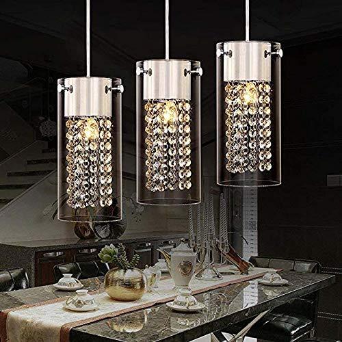 FTFTFTF Kronleuchter, Moderne Kristall Deckenleuchter Lichtfarbe Kronleuchter runden Glas Lampenschirm Chrom Kronleuchter Leuchte Beleuchtung (3 Licht),1 -