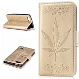 Huawei Honor 4C Case,BONROY® Huawei Honor 4C Maple leaf embossed pattern PU Leather Phone Holster Case, Flip Folio Book Case Wallet Cover with Stand Function, Card Slots Money Pouch Protective Leather Wallet Case for Huawei Honor 4C