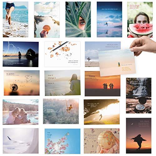 20er Postkarten Set zum Thema LEBEN mit Sprüchen und Zitaten - Jede Postkarte ein Spruch oder Zitat