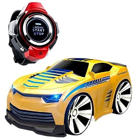 Auto mit Sprachsteuerung, Pinron Smart Watch Sprachsteuerung 2.4G Frenquenzbereich, wiederaufladbar, kreatives RC Auto mit coolen Bremsen und hellen Scheinwerfern, Ein- und Ausschalten über Sprachsteuerung. Großartiges Geschenk für Kinder